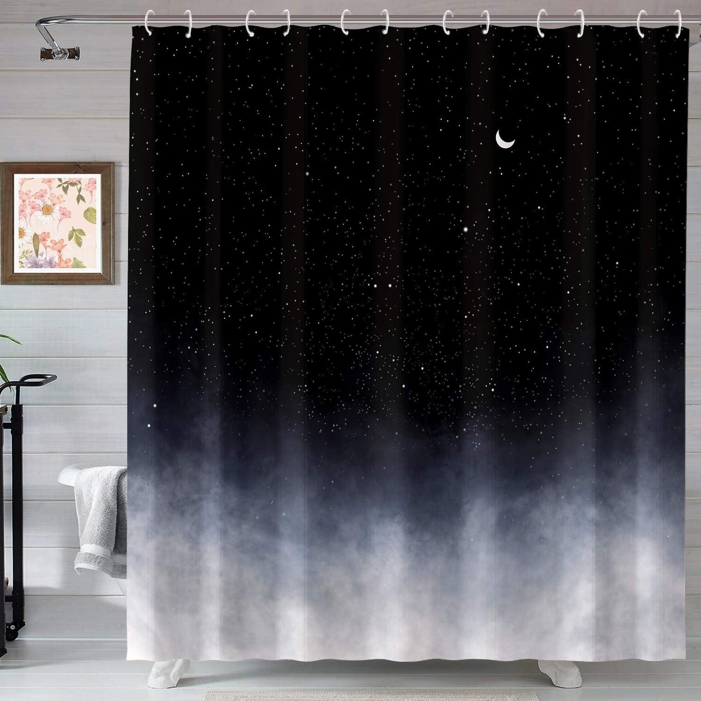 Neasow Black Shower Curtain,Stars and New Moon Bathroom Curtain Night Starry Sky Shower Curtains
