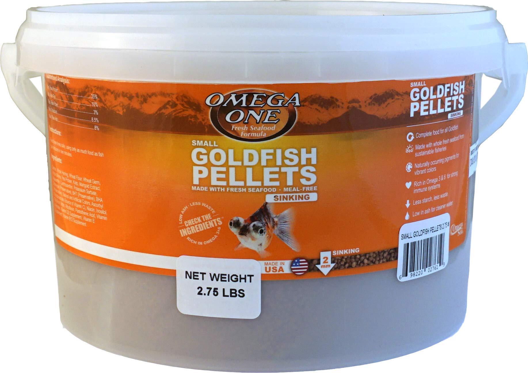 Omega One Small Sinking Goldfish Pellets Fish Food 2.75-Lbs.
