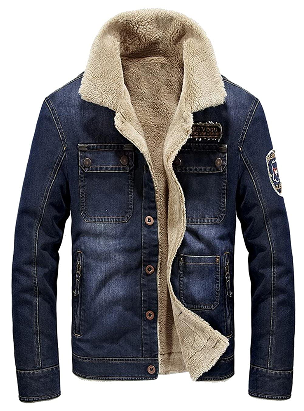 JIAX Men's Winter Thicken Rugged Wear Cargo Denim Jacket Lambs Wool Lining