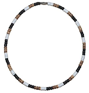 19c29b8fccb11f Amazon.com: Native Treasure - Brown Black White Puka Shell Necklace Coco  Wood Bead Choker - 5mm (3/16