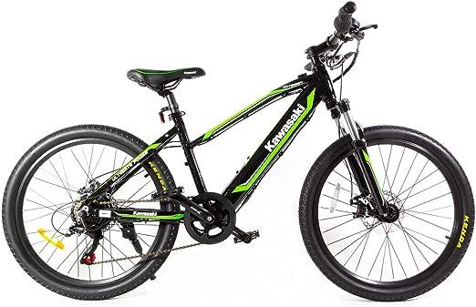 Kawasaki Bicicleta eléctrica para niños, 24 pulgadas, verde/negro ...