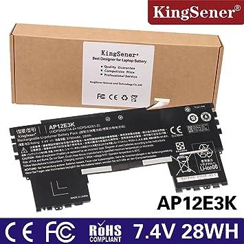 KingSener AP12E3K Batería del ordenador portátil para ACER Aspire S7-191 AP12E3K Ultrabook 27,94 cm 7,4 V 3790 wh: Amazon.es: Informática