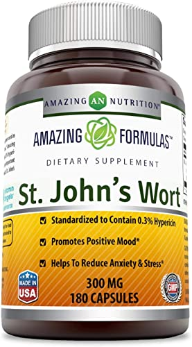 Amazing Nutrition St. Johns Wort – 300mg of 100 Pure St. John s Wort Hypericum Perforatum Extract in Every Capsules * Standardized to Contain 0.3 Hypericin – 180 Capsules Per Bottle