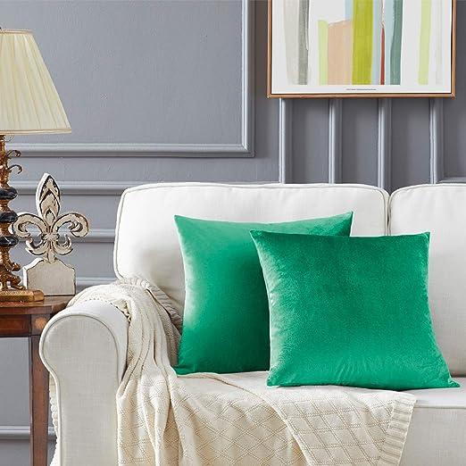 Turquesa Terciopelo Almohada Cubre Caso Suave decoración Fundas de de cojín para sofá Dormitorio CocheCama Casa Decor 50x50cm ,Pack de 2