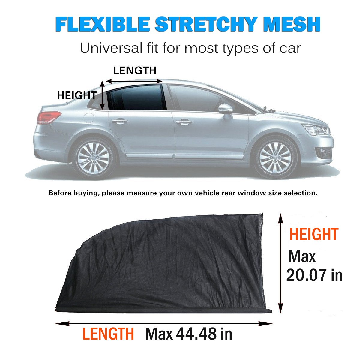 2 Pack 99/% Uv Ray Protection Car Rear Window Sun Shade Suvs Car Window Shade for Baby Universal Car Curtains Fit for Cars Protect Kids Pet from The Sun Trucks Breathable Mesh Car Sun Shade