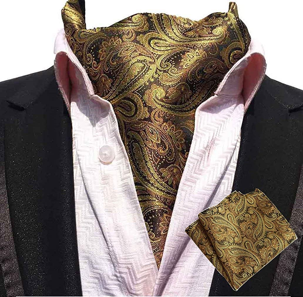MOHSLEE Men Paisley Cravat Necktie Woven Silk Formal Ascot Tie Pocket Square Set Qa09