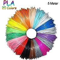 PLA Filament 1.75mm Lot de 20 Couleurs, 5m pour Chaque Couleur, 100M au Total, Fochea PLA Filament pour 3D Dessin Pour Stylo à l'impression 3D