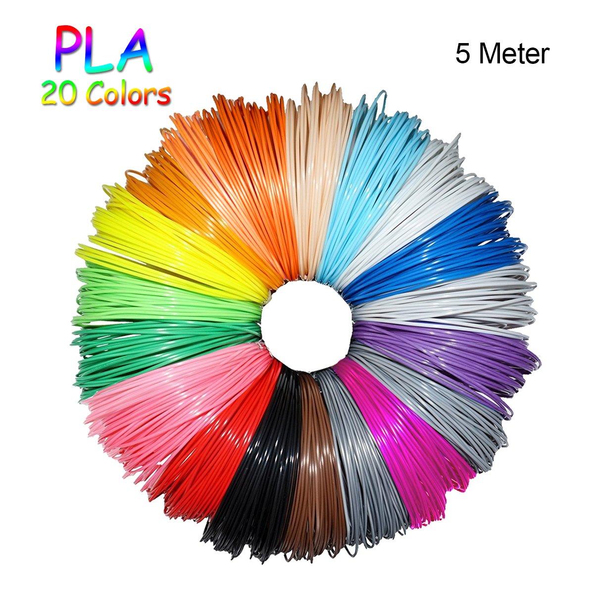 Filamento PLA per Stampanti 3D/Penne 3D, 1,75 mm, Precisione Dimensionale +/- 0,03 mm, 10M/Colore, 20 Colori, 680g FOCHEA