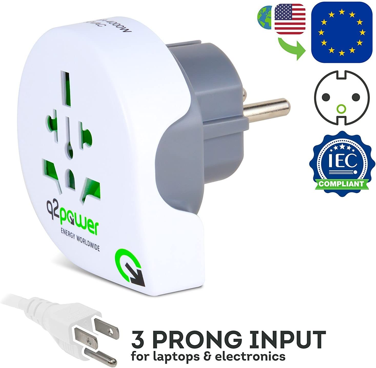 Q2 Power World to Italy Travel Adapter