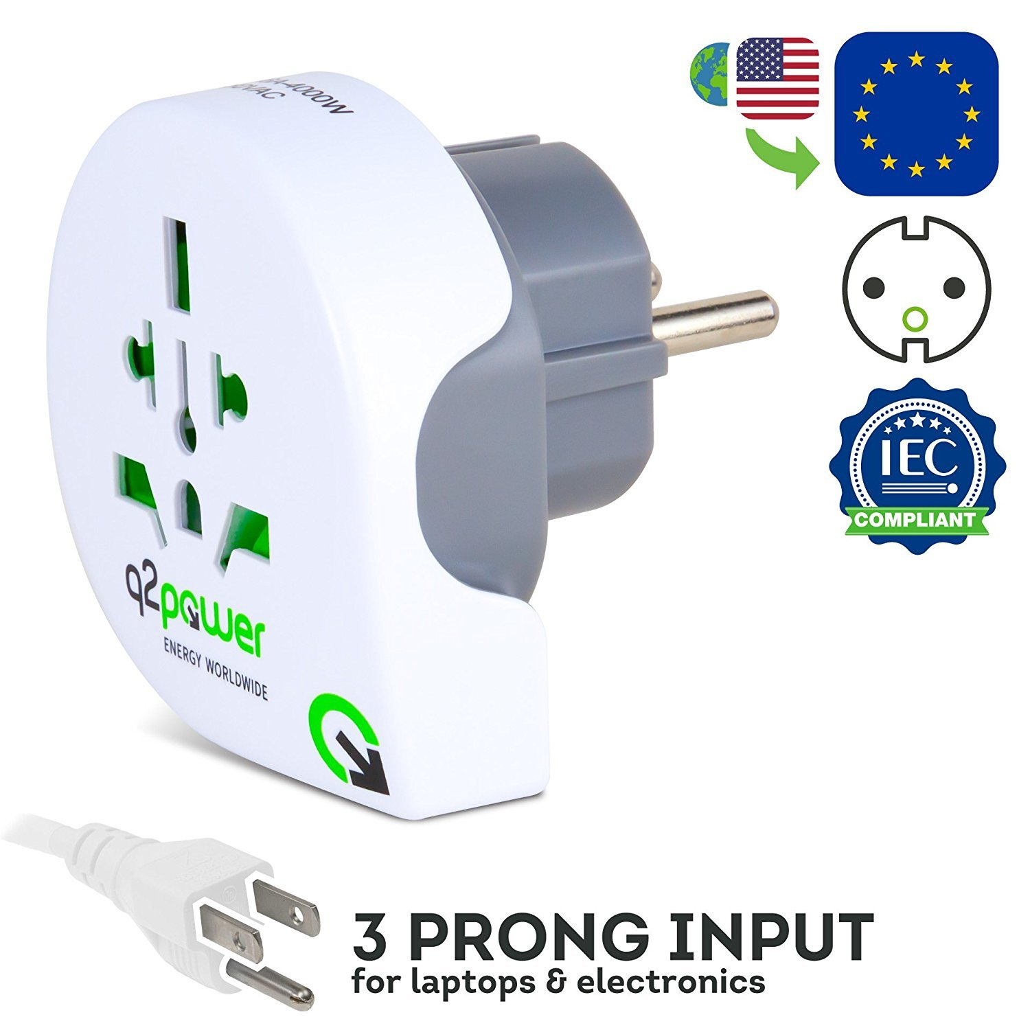 World to Europe Travel Adapter by Q2Power | For Type F Schuko Outlets | Grounded & Safe | Works with Laptops, Computers, Smartphone Chargers, Portable Devices | Perfect for International Trips