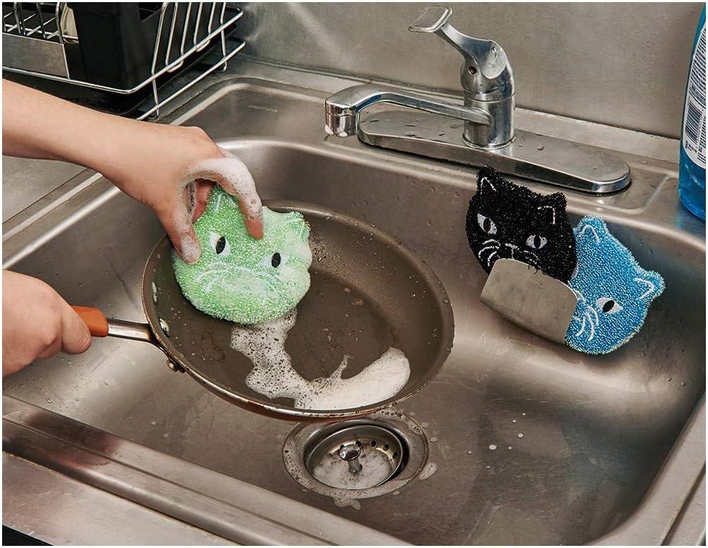 Kikkerland Set de 3 CHAT CHATON Nylon Éponges de nettoyage Vaisselle côtés Pots Cuisine