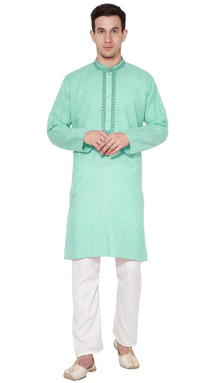 cbbe8a7421 Amazon.com: Kurta Pajama Men Indian Long Sleeve Cotton Shirt Pyjama Wedding  High Neck Suit Wear -L Green: Clothing