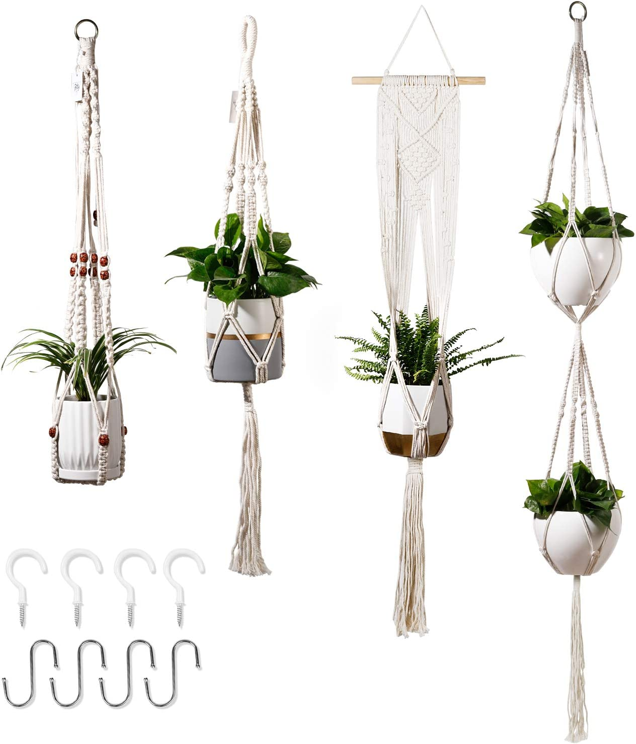 "POTEY 640101 4-Pack Macrame Plant Hangers - with 8 Hooks Hanging Planters for Indoor Plants Handmade Cotton Rope Hanging Planters Hanging Plant Holder for Boho Decor 35""/41""/46""/67"",Ivory"