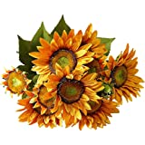 """FightingFly Artificial Flowers, 19.5"""" Silk Fake Sunflowers, 13 Heads Floral Decor Bouquet Indoor Outdoor Wedding Home…"""