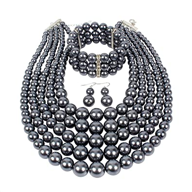 271fac8d4141f KOSMOS-LI Multi Layer Simulated Pearl Strand Costume Jewelry Sets