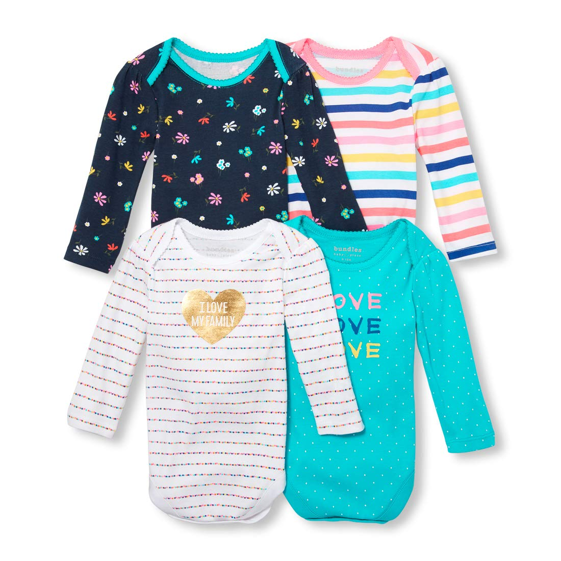The Children's Place Baby Girls I Love My Family Layette Set, Peacock Blue, 18-24MONTH