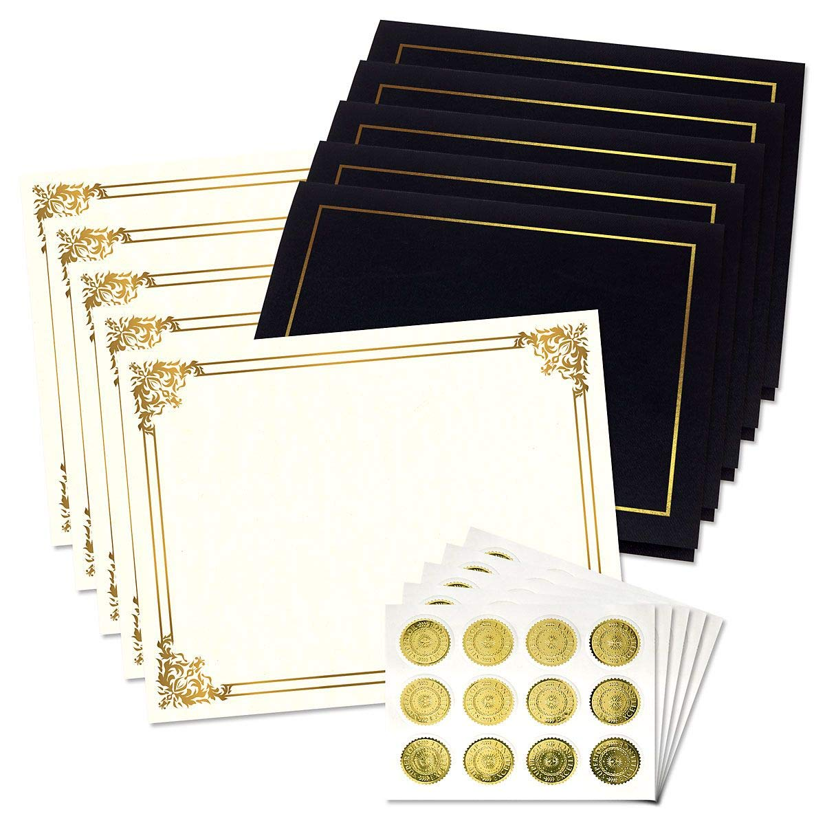 Ornate Empire Award Certificate Collection with Gold Seals - Includes 25 Blank-Inside Certificate Papers, 25 Heavy Linen Black with Gold Border Certificate folders, 25 Gold foil Seals by Fine Stationery