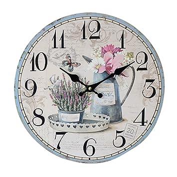 YOUJIA Reloj redondo de pared, Vintage Reloj de Madera para Sala de Estar, Habitaciones, Cocina, Hogar Décor (Flor, 35cm): Amazon.es: Hogar