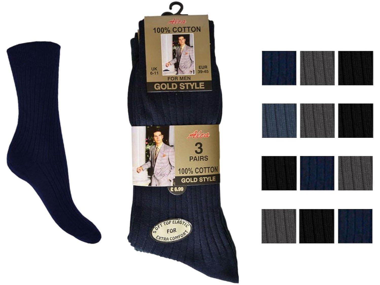 caf07d61b 6pk Mens GoldStyleTM 100% Cotton SOFT TOP Elastic. Extra Comfort. Ribbed  Suit Socks Sizes 6-11 11-13 Bigfoot (11-13 Bigfoot