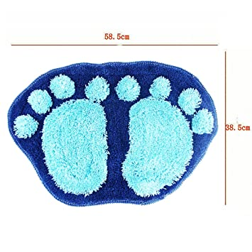 Miraclekoo Foot-shaped Water Absorption Plush Kids Bath Mat Rug, Blue