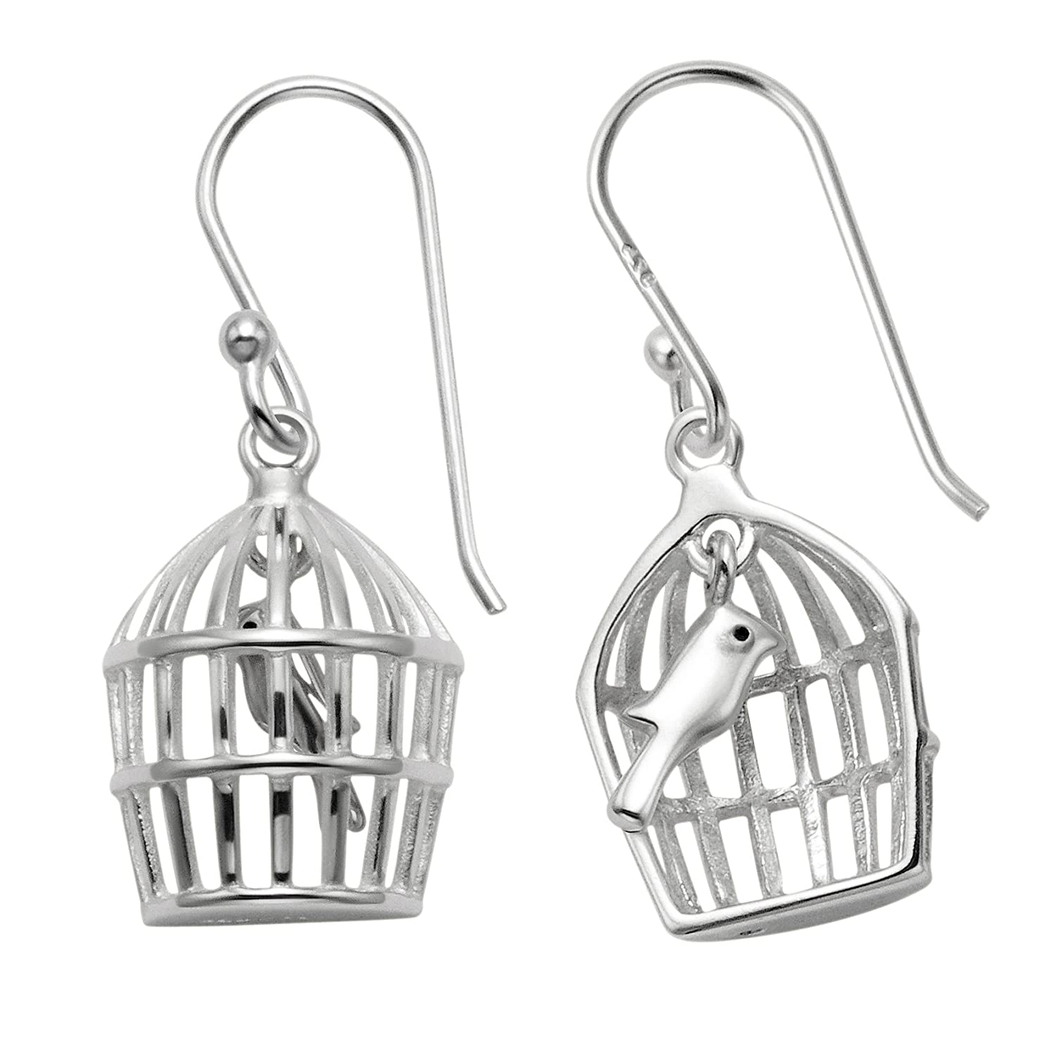 Sterling Silver Bird in Cage Pendant w//18 Snake Chain /& Matching Wire Earrings