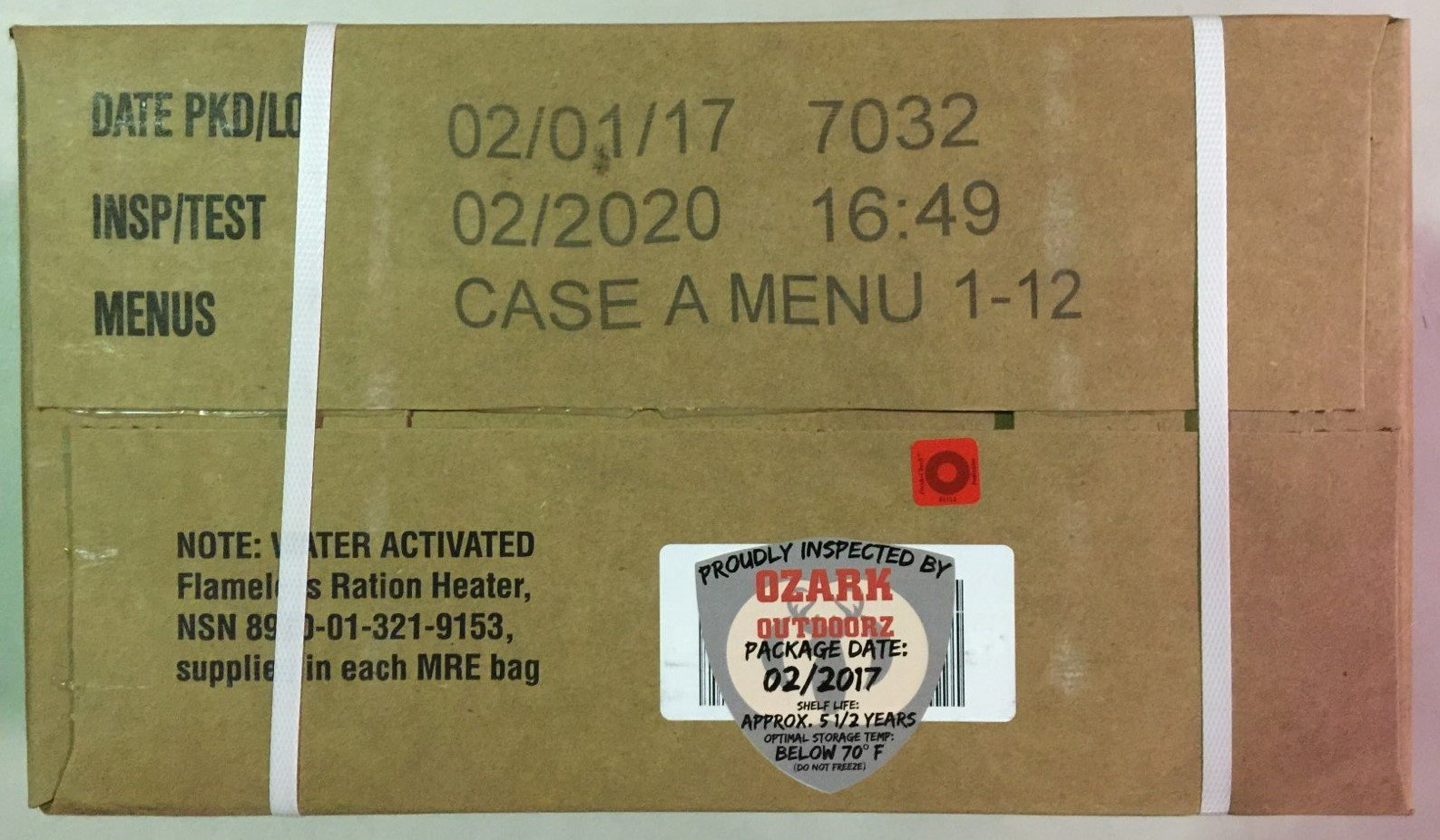 MRE 2020 Inspection Date Case, 24 Meals with 2020 Inspection Date, 2017 Pack Date A and B Case. Military Surplus Meal Ready to Eat. by Ozark Outdoorz, LLC (Image #3)