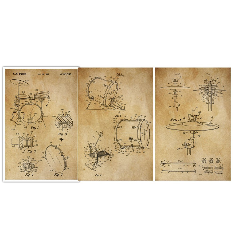 Amazon.com: Drum Set, Bass, Cymbals, Musical Instrument, Patent Wall ...