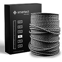 smartect Textilkabel för Lampor Svart - 5 Meter Tvinnad trasa täckt Tråd - 3 Prong (3 x 0.75mm²) Trasa Elektrisk Sladd…