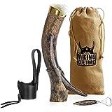 Viking Culture 16 oz. Viking Horn Mug with Beer Opener, Stand, Genuine Leather Belt Holster and Vintage Burlap Bag…