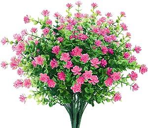 GREENRAIN 6 Bundles Artificial Flowers Outdoor Fake Flowers for Decoration UV Resistant No Fade Faux Plastic Plants Garden Porch Window Box Décor (Pink)