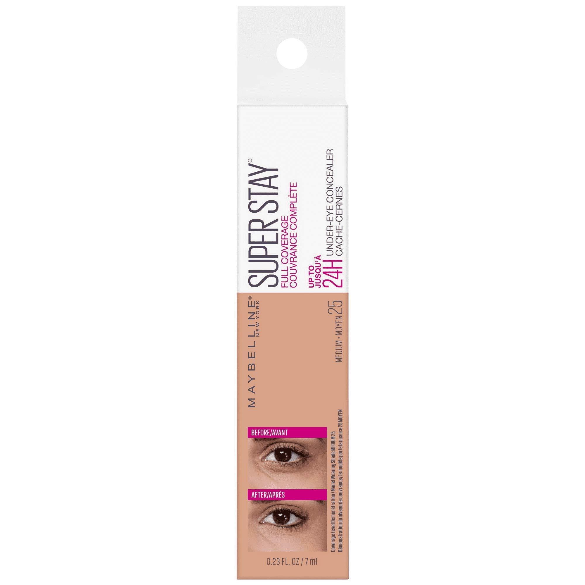 Super Stay Full Coverage Long Lasting Under-Eye Concealer, 25 Medium, 0.23 fl oz (Pack of 2)