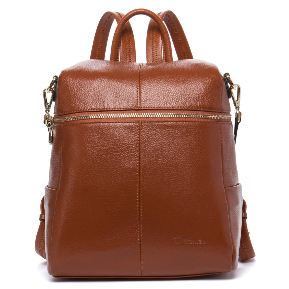 BOSTANTEN Geniune Leather Fashion Backpack Purse Casual Bags for Women Brown