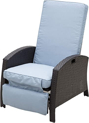 Outsunny Outdoor Rattan Wicker Adjustable Recliner Lounge Chair