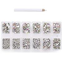 1800 pcs 2mm - 6mm Resin Crystal AB round Nail Art Mixed Flatbacks Rhinestones Gems Mix SIZE ~ M1-30 [By Zealer]