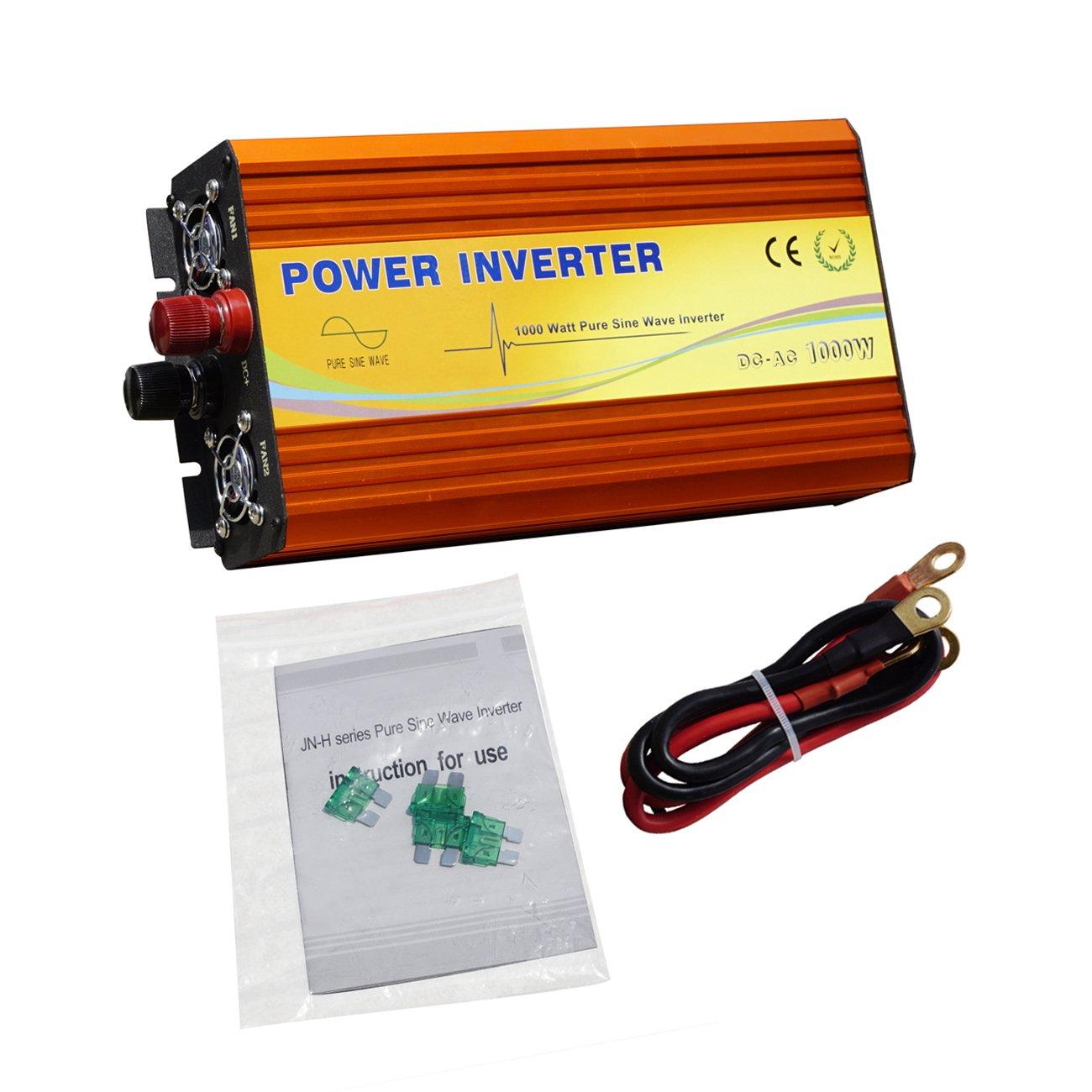 ECO-WORTHY 1000W 24V Pure Sine Inverter 110V DC Off Grid Inverter W MPPT Function 1000W 24V Input