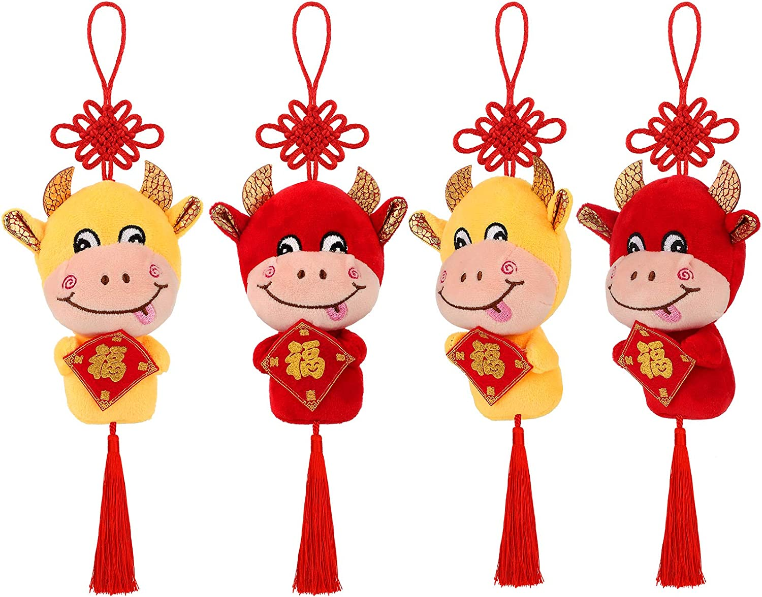 Skylety 4 Pieces 2021 Chinese New Year Ox Ornament, Good Luck Red Cattle Plush Lucky Cow Decorations Chinese New Year Zodiac Animals Mascot Toys Cattle Party Decorations