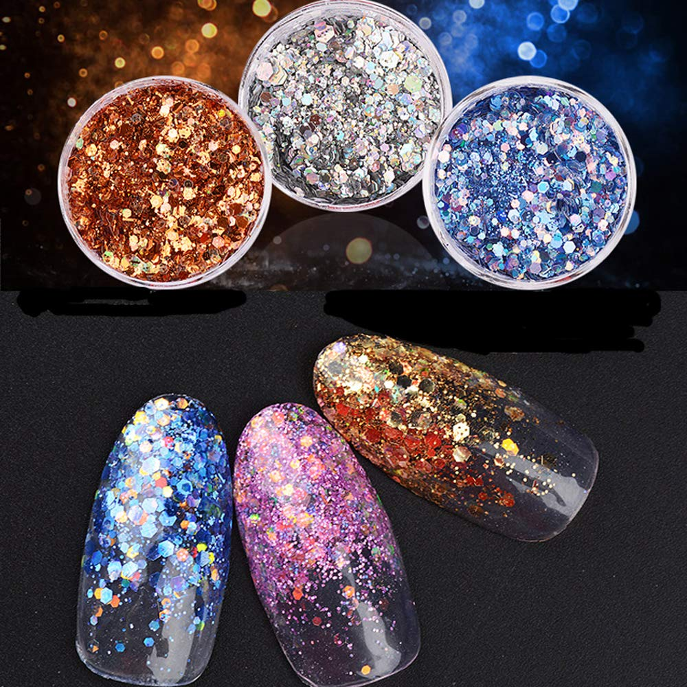 12 Pot Bling Glitter Powder Dust Nail Art Sequin 3D Rainbow Clear Hexagon Slice DIY Charm Nail Art Decor Manicure Vonrui