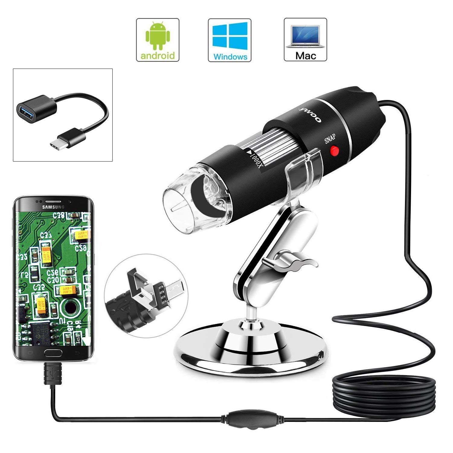 USB Microscope 1000x Zoom 1080p Digital Mini Microscope Camera with OTG Adapter and Metal Stand Compatible for Android Mac Window Linux