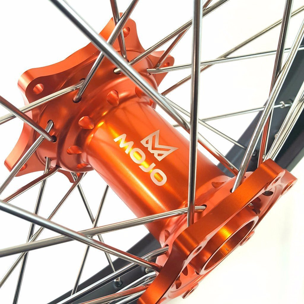 MojoMotoSport - KTM Complete Front/Rear Wheel Set 1.6 x 21 / 2.15 x 19 Black Rim/Silver Spoke/Orange Hub | MOJO-KTM-WS-ORG-2119 by MojoMotoSport (Image #3)