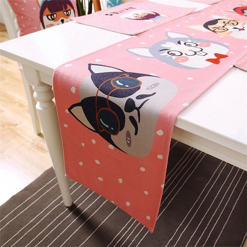 ALUS- Cartoon cute rectangular table flag cotton linen creative table flag ( Size : 30cm240cm )