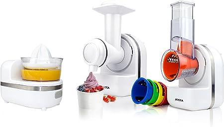 Jocca 5599 Robot de Cocina 3 En 1, Rallador, Exprimidor y Emulsión Para Hacer Sorbetes 5 Tipos de Cuchilla, 150 W: Amazon.es: Hogar
