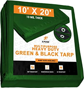 Heavy Duty Poly Tarp 10 Feet x 20 Feet 10 Mil Thick Waterproof, UV Blocking Protective Cover - Reversible Green and Black - Laminated Coating - Rustproof Grommets - by Xpose Safety