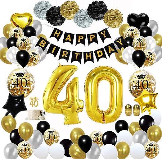 Mmtx 40 Decorazioni Per Feste Di Buon Compleanno In Oro Nero