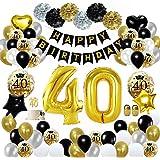 MMTX 40 Globos Cumpleaños Decoracione Oro Negro, Happy Birthday cumpleaños, Pompones de Papel, Globos de Papel de Oro…