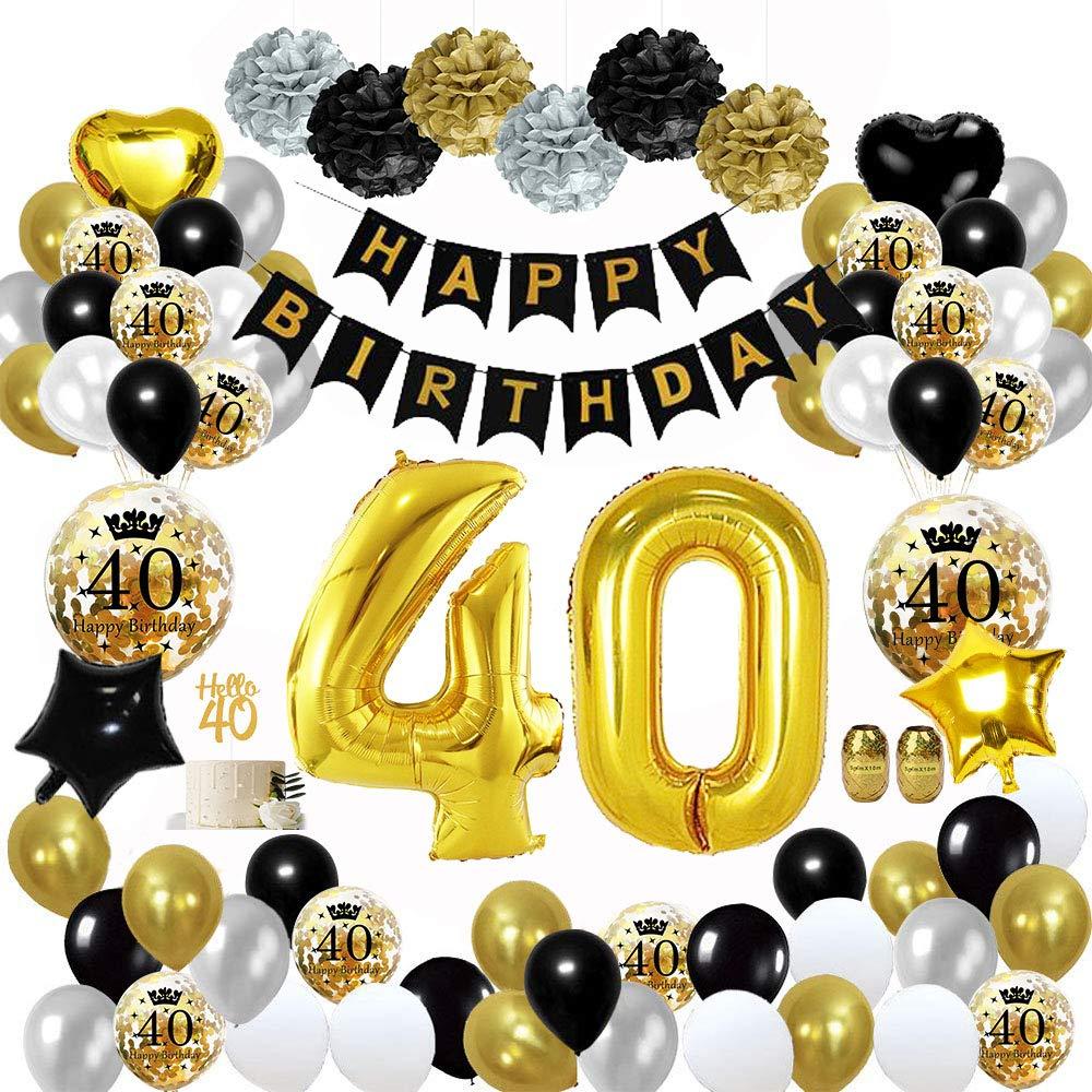 MMTX 40 Globos Cumpleaños Decoracione oro negro, Happy Birthday cumpleaños, Pompones de papel, Globos de papel de oro para hombres y mujeres Adultos ...