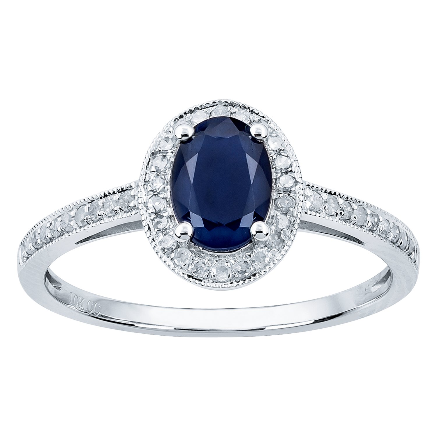 10k Rhodium-Plated White Gold Genuine Oval Sapphire and Diamond Halo Ring