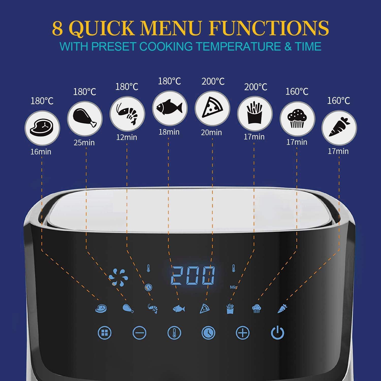 peut /être cuite sainement sans ajouter dhuile minuterie r/églable et contr/ôle de la temp/érature Friteuse /à air Elegant Life 5L 1700W friteuse /à /écran tactile 8 en 1 avec LED panier antiadh/ésif