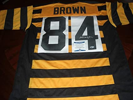 676e14e58ce Image Unavailable. Image not available for. Color: Antonio Brown Pittsburgh  Steelers Bumblebee - Beckett Authentic/Coa Autographed Signed Jersey