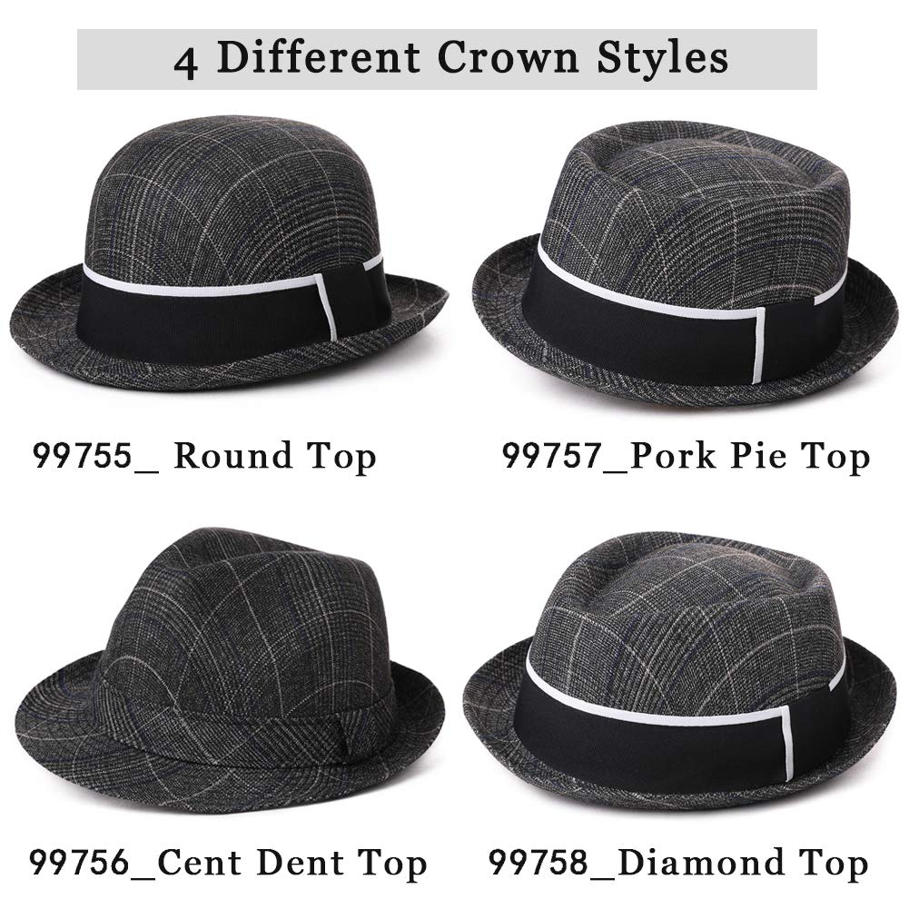 4 Different Crown Styles Trendy Glen Plaid Trilby Hats Homburg Gangsta Fedora Manhattan Derby Hat for Men Lightweight Cloth