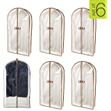 Smart Design Canvas Gusseted Garment Bag Hanger - (24 x 42 Inch) - Clothing Storage Cover - w/Cedar Wood - Odor Repellent - S